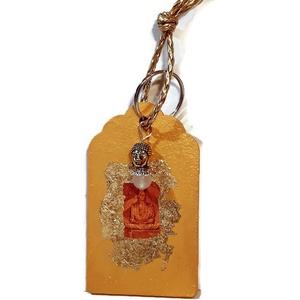 Arany Buddha fa kulcstartó Buddha+holdkő függővel,  fonott bőr akasztóval. Spirituális ajándék.  , Táska & Tok, Kulcstartó, Kulcstartó & Táskadísz, Arany Buddha fa kétoldalon dekorált  kulcstartó Buddha+holdkő függővel,  fonott bőr akasztóval, spir..., Meska