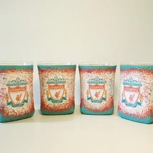 Liverpool futball rajongóknak whiskys pohár 4db, Otthon & Lakás, Díszüveg, Dekoráció, Liverpool futball rajongóknak whiskys pohár 4db. Foci és whisky kedvelőknek kötelező kellék!  A küls..., Meska