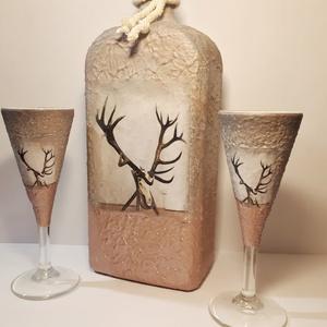 Trófea egyedi képes italos díszüveg röviditalos poharakkal vadászoknak, férjeknek, barátoknak, kollegáknak., Otthon & Lakás, Pohár, Konyhafelszerelés, Decoupage, transzfer és szalvétatechnika, Meska