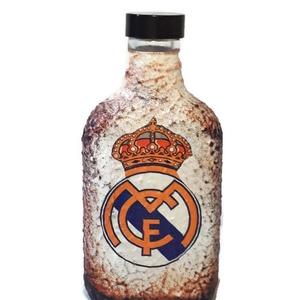 Real Madrid futball rajongói dísz- és használati lapos üveg, flaska - ajándék férfiaknak, férjeknek, barátoknak., Díszüveg, Dekoráció, Otthon & Lakás, Decoupage, transzfer és szalvétatechnika, Real Madrid futball rajongói dísz-és használati lapos üveg, flaska ajándék férfiaknak, férjeknek, ba..., Meska