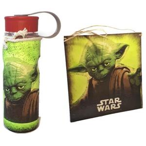 Star Wars - sötétben világító Yoda fali- ajtódísz, kopogtató és műanyag kulacs  , Konyhafelszerelés, Otthon & lakás, Gyerek & játék, Gyerekszoba, Egyéb, Decoupage, transzfer és szalvétatechnika, Star Wars - Yoda- sötétben világító  fa fali- ajtódísz, kopogtató és műanyag kulacs   ajándék Csilla..., Meska