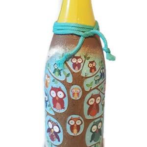 Bagoly  gyermek alkoholmentes pezsgő ajándék gyermeknapra, szülinapra, névnapra, ballagásra, szilveszterre, Üveg & Kancsó, Konyhafelszerelés, Otthon & Lakás, Decoupage, transzfer és szalvétatechnika, Bagoly gyermek alkoholmentes pezsgő ajándék gyermeknapra, szülinapra, ballagásra. Egyedileg felirato..., Meska