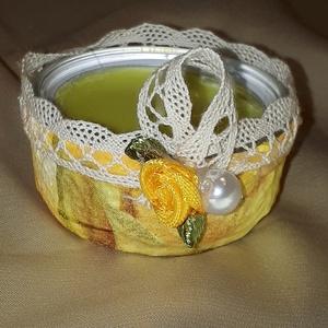 Sárga rózsás teamécses, esküvői asztali dekoráció vendég ajándék kettő az egyben. , Gyertya & Gyertyatartó, Dekoráció, Esküvő, Decoupage, transzfer és szalvétatechnika, Sárga rózsás teamécses, esküvői asztali dekoráció vendég ajándék kettő az egyben. \n\nKitűnő apró aján..., Meska