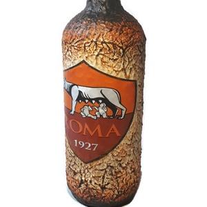 As Roma foci rajongói ajándék - italos dísz- és használati üveg. , Férfiaknak, Sör, bor, pálinka, Legénylakás, Focirajongóknak, Decoupage, transzfer és szalvétatechnika, AS Roma foci rajongói ajándék - italos dísz- és használati üveg. \n\nŰrtartalma: 1000 ml\nRendelhető má..., Meska