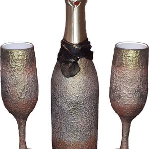 Egyedileg névre szólóan feliratozható vintage pezsgő és pezsgős poharak eljegyzésre, házasságkötésre, nászajándékba..., Esküvő, Otthon & lakás, Nászajándék, Esküvői dekoráció, Konyhafelszerelés, Decoupage, transzfer és szalvétatechnika, Egyedileg névre szólóan feliratozható vintage stíusú pezsgő és pezsgős poharak eljegyzésre, házassá..., Meska
