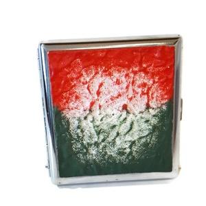 Piros- fehér- zöld mintás, magyaros fluoreszkáló fém cigaretta tárca , szülinapra, névnapra, karácsonyra., Magyar motívumokkal, Táska, Divat & Szépség, Egyéb, Férfiaknak, Hagyományőrző ajándékok, Decoupage, transzfer és szalvétatechnika, Piros-fehér- zöld mintás, magyaros fluoreszkáló fém cigaretta tárca , szülinapra, névnapra, karácson..., Meska