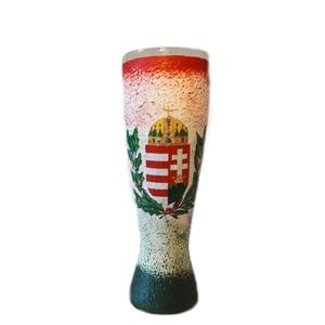 Piros-fehér-zöld mintás, címeres magyaros dísz-és használati sörös pohár nászajándékba, évfordulóra, Otthon & Lakás, Pohár, Konyhafelszerelés, Piros-fehér-zöld mintás, címeres magyaros dísz-és használati sörös pohár eljegyzésre, nászajándékba,..., Meska