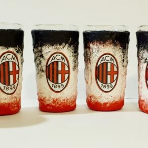 AC milan rajongóknak dísz- és használati röviditalos pohárszett., Otthon & Lakás, Díszüveg, Dekoráció, AC milan rajongóknak dísz- és használati röviditalos pohárszett. (6x25 ml)  A külső bevonatnak köszö..., Meska