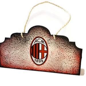 Ac Milan fa ajtódísz, falidísz, kopogtató, szurkolói ajándék, Otthon & Lakás, Ajtódísz & Kopogtató, Dekoráció, Ac Milan fa ajtódísz, falidísz, kopogtató, szurkolói ajándék. Mérete: 22x12 cm.   Milan  kedvelőknek..., Meska