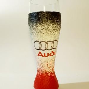 Audi sörös pohár autórajongói ajándék, Konyhafelszerelés, Otthon & lakás, Férfiaknak, Legénylakás, Sör, bor, pálinka, Bögre, csésze, Decoupage, transzfer és szalvétatechnika, Audi sörös pohár autó rajongói ajándék. (500 ml )\n\nDíjmentesen kérhető rá egyedi felirat. \n\nRendelhe..., Meska