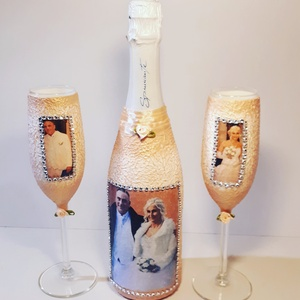 Modern esküvői fotos pezsgő pezsgős poharakkal, évfordulóra, születésnapara, névnapra, karácsonyra, Tálalás, Dekoráció, Esküvő, Decoupage, transzfer és szalvétatechnika, Modern esküvői fotos pezsgő pezsgős poharakkal, évfordulóra, születésnapara, névnapra, karácsonyra.\n..., Meska