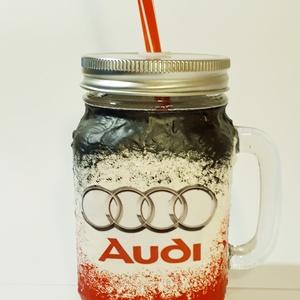 Audi szívószálas bögre, pohár, korsó 3 in 1 autórajongói ajándék, Otthon & lakás, Konyhafelszerelés, Bögre, csésze, Decoupage, transzfer és szalvétatechnika,  Audi szívószálas bögre, pohár, korsó 3 in 1 autórajongói ajándék. (500 ml)\n\nDíjmentesen kérhető rá ..., Meska