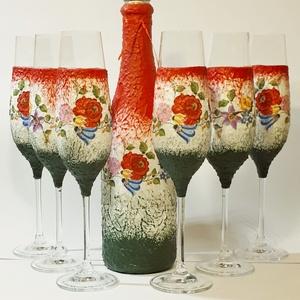 Kalocsai mintás, magyaros italos üveg pezsgős poharakkal esküvőre, eljegyzésre, nászajándékba, évfordulóra, házavatóra., Esküvő, Nászajándék, Otthon & lakás, Dekoráció, Dísz, Ünnepi dekoráció, Anyák napja, Decoupage, transzfer és szalvétatechnika, Kalocsai mintás, magyaros italos üveg pezsgős poharakkal esküvőre, eljegyzésre, nászajándékba, évfor..., Meska