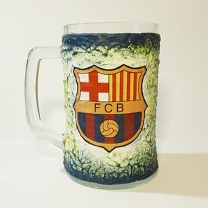 Fc Barcelona sörös korsó  futball rajongói ajándék férfiaknak, férjeknek, barátoknak, Otthon & Lakás, Díszüveg, Dekoráció, Decoupage, transzfer és szalvétatechnika, Meska