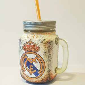 Real Madrid foci rajongói sörös korsó vagy szívószálas üveg kettő az egyben, Otthon & Lakás, Díszüveg, Dekoráció, Real Madrid foci rajongói sörös korsó vagy szívószálas üveg kettő az egyben  Foci rajongó a család a..., Meska