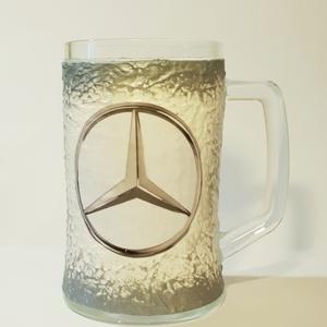 Mercedes sörös korsó autó rajongói ajándék házavatóra, tejfakasztó bulira, szülinapra, névnapra., Otthon & Lakás, Díszüveg, Dekoráció, Mercedes sörös korsó autó rajongói ajándék házavatóra, tejfakasztó bulira, szülinapra, névnapra.  Űr..., Meska