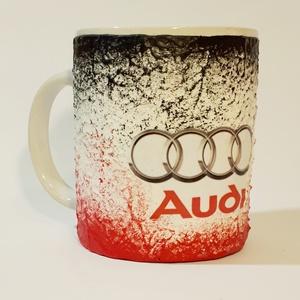 Audi füles kerámia pohár, bögre audi rajongói ajándék , Bögre & Csésze, Konyhafelszerelés, Otthon & Lakás, Decoupage, transzfer és szalvétatechnika, Audi füles kerámia pohár, bögre audi rajongói ajándék férfiaknak, férjeknek, barátoknak, gyermekekne..., Meska