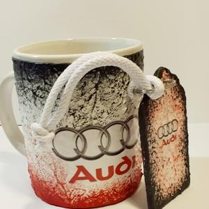 Audi füles kerámia pohár, bögre + fa sötétben fluoreszkáló kulcstartó audi rajongói ajándék , Konyhafelszerelés, Otthon & lakás, Bögre, csésze, Egyéb, Kulcstartó, táskadísz, Táska, Divat & Szépség, Decoupage, transzfer és szalvétatechnika, Audi füles kerámia pohár, bögre + fa sötétben fluoreszkáló fa kulcstartó audi rajongói ajándék férfi..., Meska