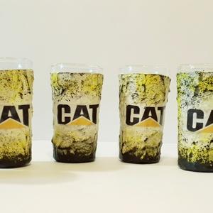 Cat, caterpillar röviditalos pohárszett szülinapra, névnapra, házavatóra, karácsonyra.  , Pohár, Konyhafelszerelés, Otthon & Lakás, Decoupage, transzfer és szalvétatechnika, CAT, Caterpillar italos dísz- és használati röviditalos pohárszett szülinapra, névnapra, házavatóra,..., Meska