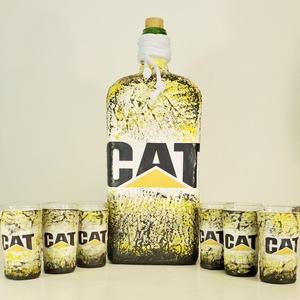 Cat, caterpillar  díszüveg röviditalos poharakkal szülinapra, névnapra, házavatóra, karácsonyra.  , Pohár, Konyhafelszerelés, Otthon & Lakás, Decoupage, transzfer és szalvétatechnika, CAT, Caterpillar italos dísz- és használati üveg röviditalos poharakkal szülinapra, névnapra, házava..., Meska