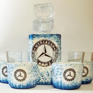 Mercedes  rajongóknak klasszikus formájú whiskys üveg poharakkal házavatóra, tejfakasztó bulira, szülinapra, névnapra., Férfiaknak, Hagyományőrző ajándékok, Otthon & lakás, Egyéb, Konyhafelszerelés, Decoupage, transzfer és szalvétatechnika, Mercedes rajongóknak klasszikus formájú whiskys üveg poharakkal metálkék szinezéssel névnapra, szüli..., Meska