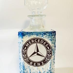 Mercedes  rajongóknak klasszikus formájú whiskys üveg házavatóra, tejfakasztó bulira, szülinapra, névnapra., Otthon & Lakás, Díszüveg, Dekoráció, Mercedes rajongóknak klasszikus formájú whiskys üveg metálkék szinezéssel névnapra, szülinapra, háza..., Meska