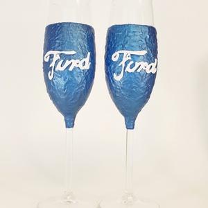 Ford pezsgős  pohárszet autó rajongói ajándékl, Otthon & Lakás, Pohár, Konyhafelszerelés, Ford pezsgős pohárszet autó rajongói ajándék.  Ford rajongó család kötelező konyhafelszerelése. Ideá..., Meska