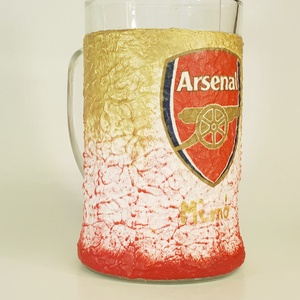 Arsenal foci rajongói sörös korsó , Otthon & Lakás, Pohár, Konyhafelszerelés, Decoupage, transzfer és szalvétatechnika, Meska