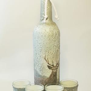 Szarvasos italos díszüveg röviditalos poharakkal vadászoknak szarvas motívummal, Otthon & Lakás, Konyhafelszerelés, Üveg & Kancsó, Szarvasos italos díszüveg röviditalos poharakkal vadászoknak szarvas motívummal  Mi sem lehet különl..., Meska