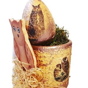 Bagoly üveg teamécsestartó bagoly tojással - arany bronz. Ajándék gyermeknapra, szülinapra, névnapra, húsvétra., Otthon & Lakás, Dekoráció, Dísztárgy, Bagoly üveg teamécses bagoly tojással - arany bronz. Ajándék szülinapra, névnapra, húsvétra. Egyedil..., Meska