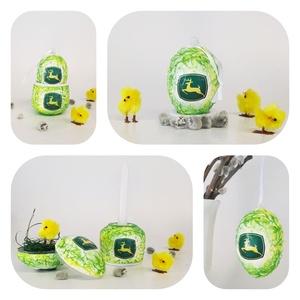 John Deere meglepetés tojás, húsvéti tojás kermáia gyertyatartó és tojástartó 3 az 1-ben nem csak húsvétr:, névnapra..., Gyertya & Gyertyatartó, Dekoráció, Otthon & Lakás, Decoupage, transzfer és szalvétatechnika, John Deere meglepetés tojás, locsoló ajándék, húsvéti tojás kerámia tojástartóval, gyertyatartóval 3..., Meska