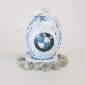 BMW sötétben fluoreszkáló húsvéti tojás, autó rajongói meglepetés tojás, nem csak húsvétra, névnapra, szülinapra..., Függődísz, Dekoráció, Otthon & Lakás, Decoupage, transzfer és szalvétatechnika, BMW sötétben fluroeszkáló húsvéti tojás, autó rajongói meglepetés tojás, locsoló ajándék nem csak hú..., Meska