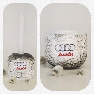 Audi húsvéti kerámia tojástartó és gyertyatartó 2 az 1-ben autó rajongói ajándék nem csak húsvétra, Gyertya & Gyertyatartó, Dekoráció, Otthon & Lakás, Decoupage, transzfer és szalvétatechnika, Audi húsvéti kerámia tojástartó és gyertyatartó 2 az 1-ben autó rajongói ajándék, locsoló ajándéknem..., Meska