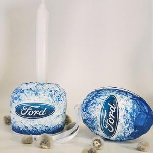Ford autó rajongói húsvéti tojás meglepetés tojás kerámia tojástartó + gyertyatartó 3 az 1-ben ajándék nem csak húsvétra (Biborvarazs) - Meska.hu