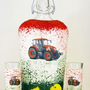 Zetor traktor csatos üveg röviditalos poharakkal traktort kedvelőknek szülinapra, névnapra, Férfiaknak, Sör, bor, pálinka, Legénylakás, Decoupage, transzfer és szalvétatechnika, Zetor traktor röviditalos csatos üveg roviditalos poharakkal traktort kedvelőknek szülinapra, névnap..., Meska