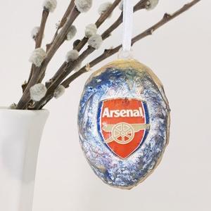 Arsenal húsvéti tojás foci rajongói meglepetés tojás nem csak húsvétra, névnapra, szülinapra, gyermeknapra, Függődísz, Dekoráció, Otthon & Lakás, Decoupage, transzfer és szalvétatechnika, Arsenal húsvéti tojás foci rajongói meglepetés tojás, locsoló ajándék nem csak húsvétra, névnapra, s..., Meska