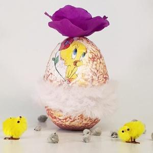 Csőrike húsvéti tojás pink rózsával rózsaszín szőrme szoknyával, húsvéti asztali dísz, húsvéti ajándék., Otthon & Lakás, Dekoráció, Dísztárgy, Csőrike húsvéti tojás pink rózsával rózsaszín szőrme szoknyával, húsvéti asztali dísz, húsvéti ajánd..., Meska