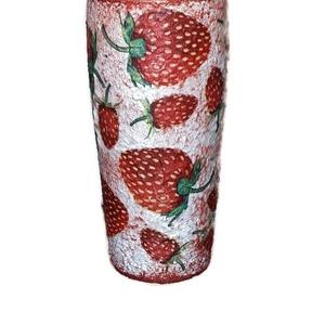 Epres üdítős pohár, vizes pohár eperimádóknak ajándék ötlet anyák napjára, gyermeknapra, Otthon & Lakás, Pohár, Konyhafelszerelés, Epres üdítős pohár, vizes pohár eperimádóknak ajándék ötlet anyák napjára, gyermeknapra. (2-3 dl.)  ..., Meska