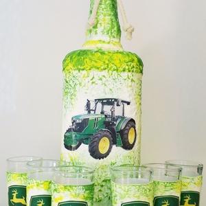 John Deere traktor dísz- és használati üveg röviditalos poharakkal traktort kedvelőknek szülinapra, névnapra, Otthon & lakás, Férfiaknak, Lakberendezés, Sör, bor, pálinka, Legénylakás, Decoupage, transzfer és szalvétatechnika, John Deere traktor röviditalos dísz- és használati üveg röviditalos poharakkal traktort kedvelőknek..., Meska