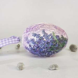 Levendula húsvéti tojás  - Levendula meglepetés tojás szárított levenedulával töltve, Dísztárgy, Dekoráció, Otthon & Lakás, Decoupage, transzfer és szalvétatechnika, Levendula húsvéti tojás  - Levendulás  meglepetés tojás szárított levendulával  töltve.\n\nA tojás any..., Meska