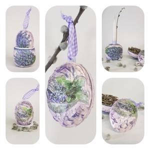 Levendula húsvéti tojás kerámia tojástartó és gyertyatartó 3 az 1-ben húsvétra - Levendula meglepetés tojással , Gyertya & Gyertyatartó, Dekoráció, Otthon & Lakás, Decoupage, transzfer és szalvétatechnika, Levendula húsvéti tojás kerámia tojástartó és gyertyatartó 3 az 1-ben ajándék húsvétra, asztali dísz..., Meska