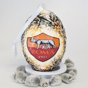 AS Roma húsvéti tojás, foci rajongói meglepetés tojás, nem csak húsvétra, névnapra, szülinapra, gyermeknapra., Függődísz, Dekoráció, Otthon & Lakás, Decoupage, transzfer és szalvétatechnika, AS Roma húsvéti tojás, foci rajongói meglepetés tojás, locsoló ajándék nem csak húsvétra, névnapra, ..., Meska