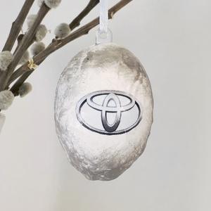 Toyota húsvéti tojás, autó rajongói meglepetés tojás, nem csak húsvétra, névnapra, szülinapra, gyermeknapra., Függődísz, Dekoráció, Otthon & Lakás, Decoupage, transzfer és szalvétatechnika, Toyota húsvéti tojás, autó rajongói meglepetés tojás, locsoló ajándék nem csak húsvétra, névnapra, s..., Meska