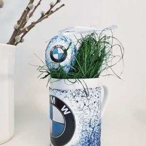 BMW sötétben fluoreszkáló húsvéti tojás meglepetés tojás + kerámia bögre, autó rajongói dísz húsvéti locsló ajándék, Konyhafelszerelés, Otthon & lakás, Dekoráció, Bögre, csésze, Húsvéti díszek, Ünnepi dekoráció, Decoupage, transzfer és szalvétatechnika, BMW sötétben fluoreszkáló húsvéti tojás meglepetés tojás + kerámia bögre, autó rajongói dísz húsvéti..., Meska