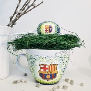 Fc Barcelona húsvéti tojás meglepetés tojás + kerámia bögre, foci rajongói asztali dísz húsvéti locsló ajándék, Konyhai dísz, Konyhafelszerelés, Otthon & Lakás, Decoupage, transzfer és szalvétatechnika, Fc Barcelona húsvéti tojás meglepetés tojás + kerámia bögre, foci rajongói asztali dísz húsvéti locs..., Meska