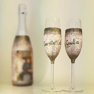 Egyedi képes pezsgő pezsgős poharakkal egyedi felirattal esküvőre, eljegyzésre, házassági évfordulóra, nászajándékba, Pohár, Konyhafelszerelés, Otthon & Lakás, Decoupage, transzfer és szalvétatechnika, Egyedi képes pezsgő pezsgős poharakkal egyedi felirattal esküvőre, eljegyzésre, házassági évfordulór..., Meska