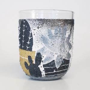 Kaktusz üditős pohár üveg vizespohár  ajándék gyermeknapra, szülinapra, névnapra, mikulásra, húsvétra., Gyerek & játék, Konyhafelszerelés, Otthon & lakás, Bögre, csésze, Decoupage, transzfer és szalvétatechnika, Kaktusz aranyosan csillogó üdítős pohár, üveg vizespohár ajándék gyermeknapra, szülinapra, névnapra,..., Meska