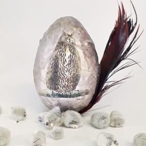 Bagoly húsvéti tojás  madár tollal, húsvéti asztali dísz, húsvéti ajándék., Otthon & Lakás, Dekoráció, Dísztárgy, Bagoly húsvéti tojás  madár tollal, húsvéti asztali dísz, húsvéti ajándék.  Kítünő asztali dísz húsv..., Meska