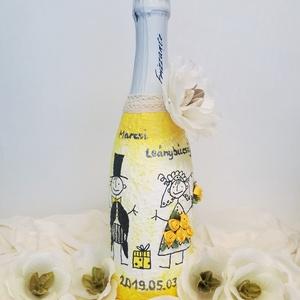 Bohokás, bohém menyasszony és vőlegény BB pezsgő esküvőre, eljegyzésre, leánybúcsúba, legénybúcsúba, nászajándékba., Nászajándék, Emlék & Ajándék, Esküvő, Decoupage, transzfer és szalvétatechnika, Bohokás, bohém sárga rózsás menyasszony és vőlegény BB pezsgő esküvőre, eljegyzésre, leánybúcsúba, l..., Meska