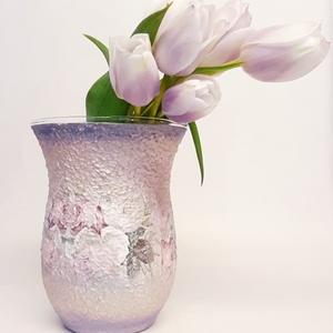 Rózsás váza pasztell színekben tavaszi asztali dekoráció névnapra, házavatóra, szülinapra, pedagógus napra. , Otthon & Lakás, Váza, Dekoráció, Rózsás váza pasztell színekben tavaszi, nyári dekoráció szülinapra, névnapra, házavatóra, anyák napj..., Meska